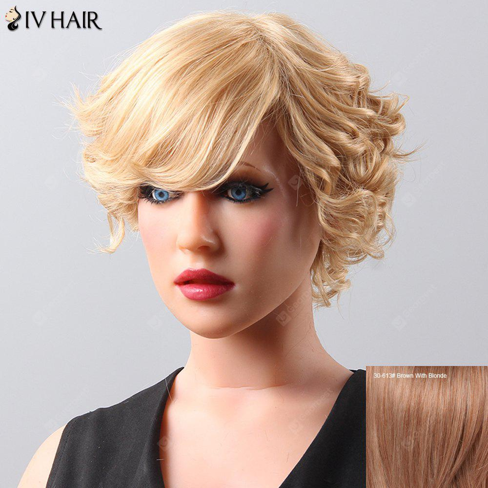 Side Bang Curly Short Siv Hair Human Hair Wig For Women