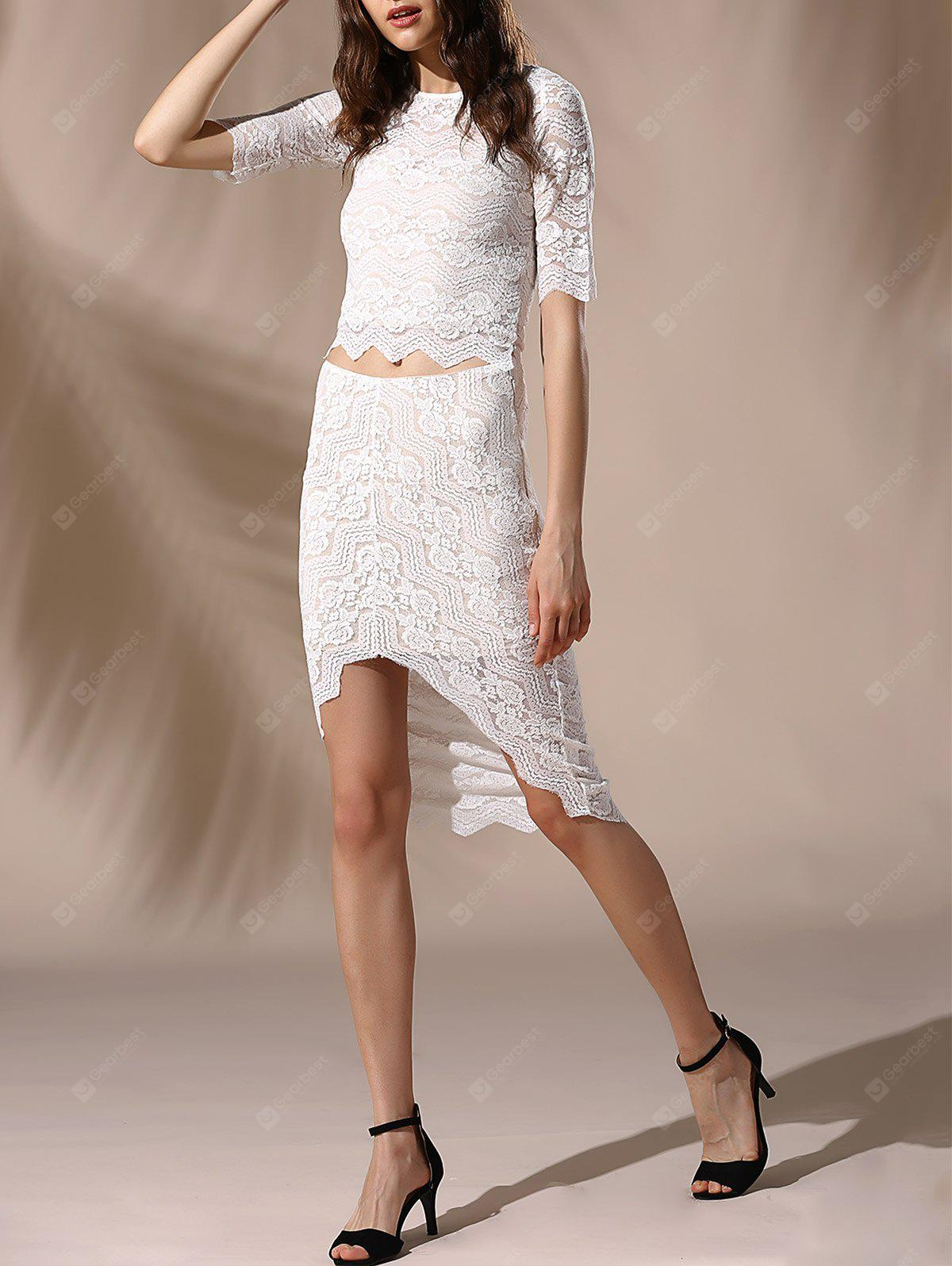4b552ebcadc Buy Chic Round Neck Skinny Crop Top + Asymmetrical Lace Skirt Women's  Twinset ...