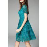 Short Sleeve Fit and Flare Lace Dress for sale