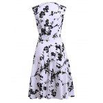 Floral Print Tea Length Vintage Dress photo