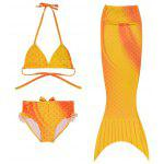 Stylish Halter Mermaid Design Girl's Three-Piece Swimsuit - JAUNE