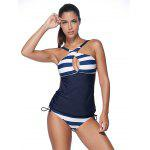 Buy Plunging Neck Striped Padded Tankini Set XL PURPLISH BLUE
