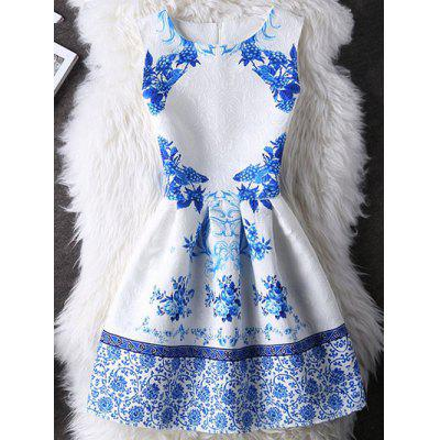 Elegant Guipure Folral Print Mini Dress