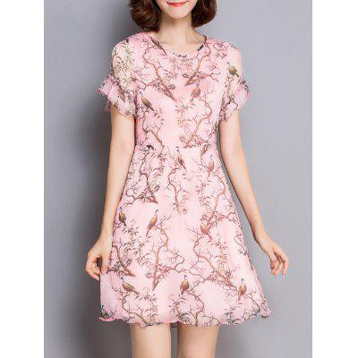 Sweet Style Bird Print Flounced Women's Dress