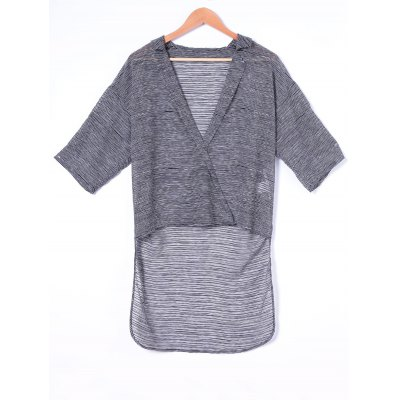 Fashionable Turn-down Collar Long Solid Color Blouse For Women