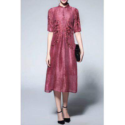 Mandarin Collar Half Sleeve Embroidery Dress
