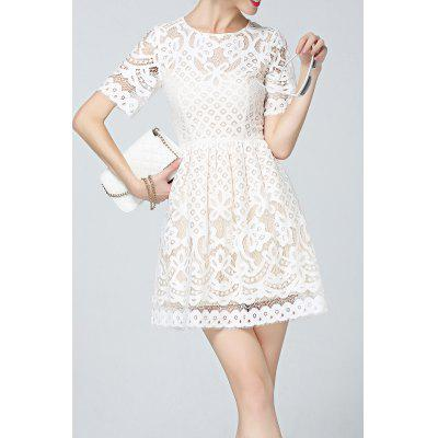 Solid Color Lace Mini Dress