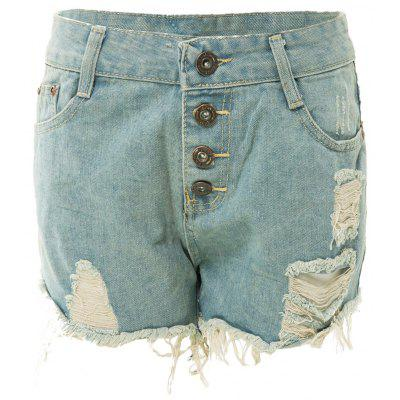 Bleach Wash Frayed Tassel Denim Jeans Shorts For Women