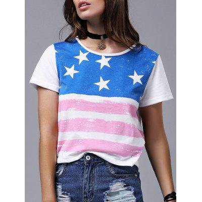 Chic Round Neck Short Sleeve Flag Print T-Shirt For Women