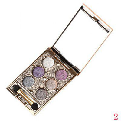 Stylish 6 Colours Sparkly Diamond Earth Tone Eye Shadow Palette with Mirror and Brush