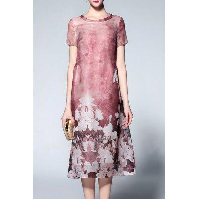 Short Sleeve Floral Print Silk Dress