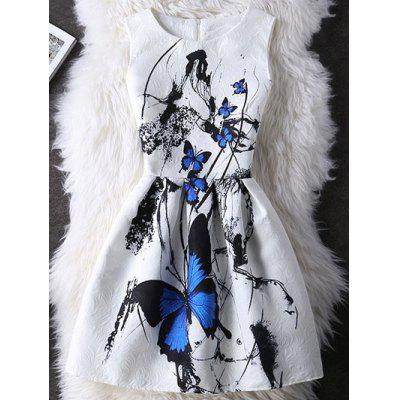 Graceful Butterfly Pattern High Waist Skater Dress