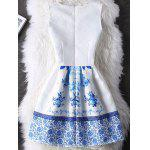 cheap Elegant Guipure Folral Print Mini Dress
