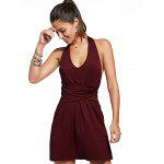 Buy Stylish Sleeveless Twist-Front Backless Solid Color Women's Dress XL WINE RED