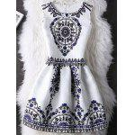 Motif Tribal Design Une Robe De Ligne Zipper - BLANC