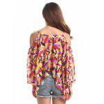 Buy Chic Spaghetti Strap Shoulder Bell Sleeve Feather Print Women's Blouse L COLORMIX