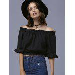 cheap Sweet Off-The-Shoulder Ruffled Women's Crop Top
