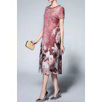 Short Sleeve Floral Print Silk Dress - DARK RED