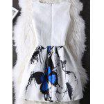 Graceful Butterfly Pattern High Waist Skater Dress - WHITE