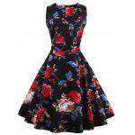 Floral Tea Length Vintage Dress - BLACK