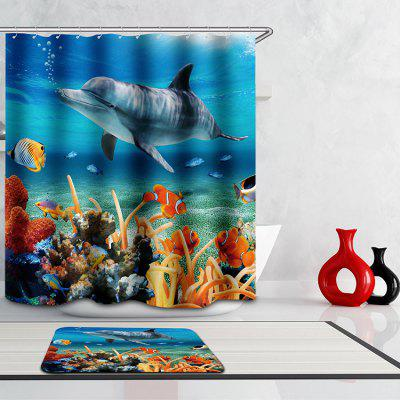 Novelty 3D Undersea World Digital Printing Mouldproof Shower Curtain For Bathroom