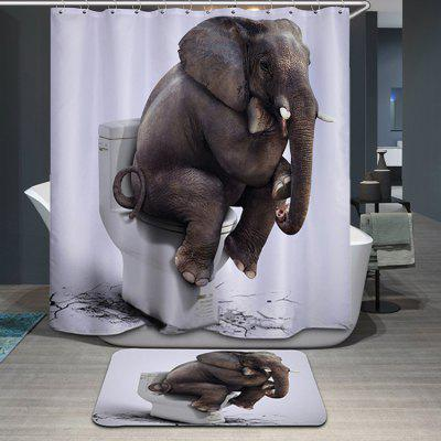 Thicken Waterproof 3D Elephant Toilet Pattern Shower Curtain