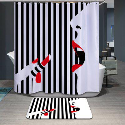 Creative Thicken Striped Lipstick Lady Pattern Shower Curtain