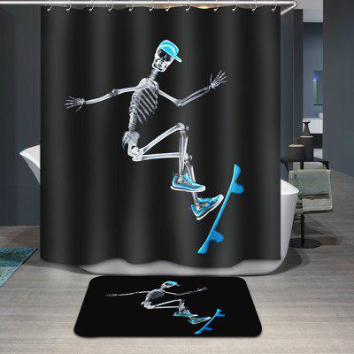 Creative Skating Human Skeleton Pattern Waterproof Shower Curtain
