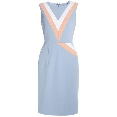 Sleeveless V-Shaped Splice Dress