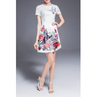 Bird Floral Print Dress in White