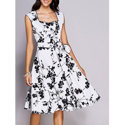 Retro Floral Sweetheart Neck Bowknot Embellished Dress