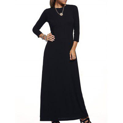 Brief Style Round Collar Pure Color 3/4 Sleeve Maxi Dress For Women