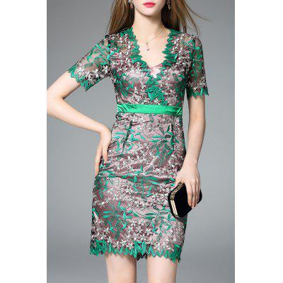 Allover Embroidered Bodycon Mini Prom Dress