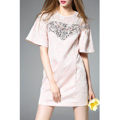 Bell Sleeve A-Line Jacquard Dress