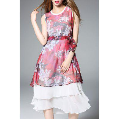 Layered Chiffon Dress With Belt