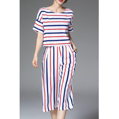 Loose Striped T-Shirt and Capri Wide Leg Pants Suit