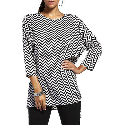 Chic Jewel Neck Zigzag Stripe 3/4 Sleeve T-Shirt For Women