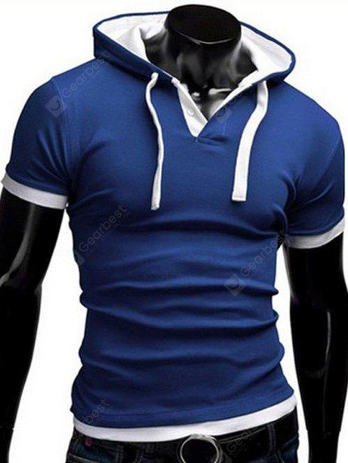 Buy Faux Twinset Hooded Button Embellished Short Sleeves Fitted T-Shirt Men 2XL BLUE