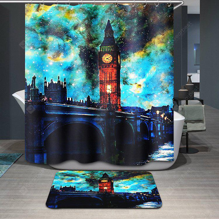 Buy Stylish Big Ben Oil Painting Pattern Waterproof Shower Curtain COLORMIX