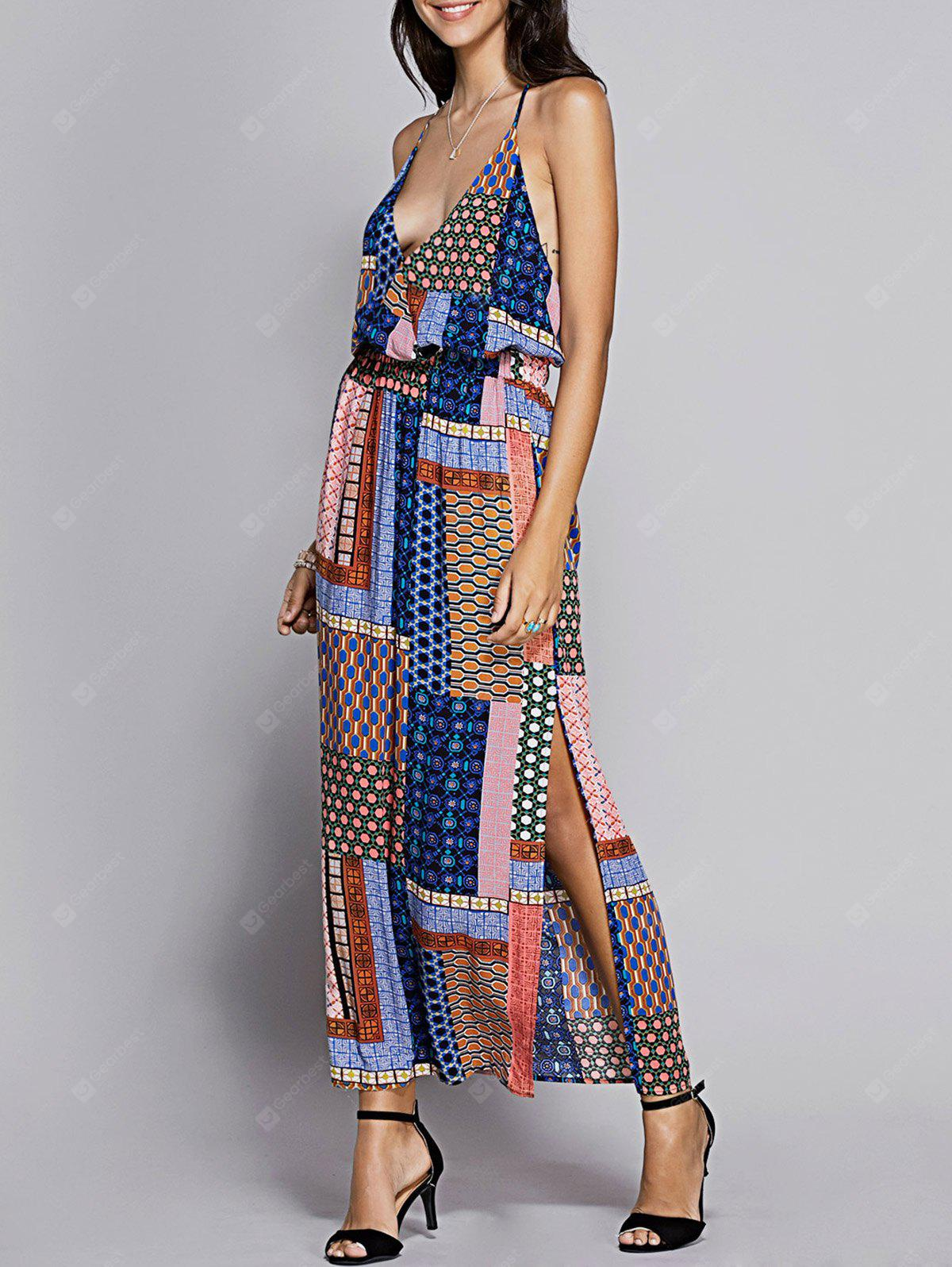 Tribal Print Maxi Backless Slit Casual Dress
