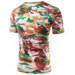 Buy Slimming Printed Round Collar Short Sleeves T-Shirts Men 2XL COLORMIX