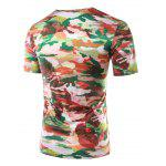 Buy Slimming Printed Round Collar Short Sleeves T-Shirts Men M COLORMIX