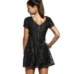 Fashion Short Sleeve Back V Solid Color Lace Dress For Women - SIYAH