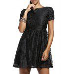Fashion Short Sleeve Back V Solid Color Lace Dress For Women - BLACK