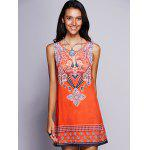 Ethnic Keyhole Neckline Print Dress For Women - ORANGE RED
