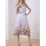 cheap Bohemian Floral Print Chiffon Dress