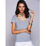 Casual Scoop Neck Cut Out Bowknot T-Shirt For Women - GRAY