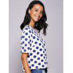 cheap Casual Jewel Neck Polka Dot Short Sleeve Tee For Women