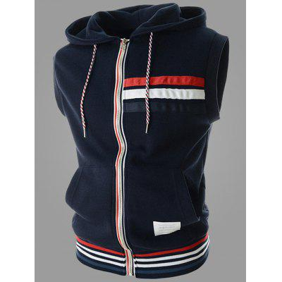 Hooded Drawstring Zipper Design Stripes Sleeveless Vest For Men