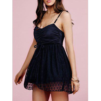 Stylish Cami Black Lace Splice Women's Mini Dress
